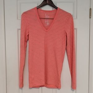 🚩2 for $15 - Neon Coral Striped Tee